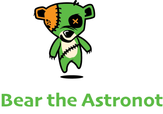 Bear the Astronot Fighting Teddy Logo Green Vertical